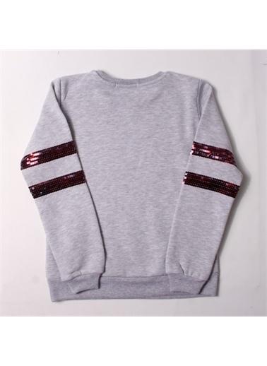 Toontoy Toontoy Kız Çocuk Sweatshirt Kolları Pul Nakışlı - Gri Melanj - 8 Yaş - 128Cm   Boy Gri